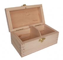 Pine Wood 2 Compartment Tea Box With Clasp
